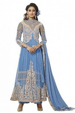 Beautiful Sky Blue Soft Net Semi-Stitched Salwar Suit @ Rs2318.00