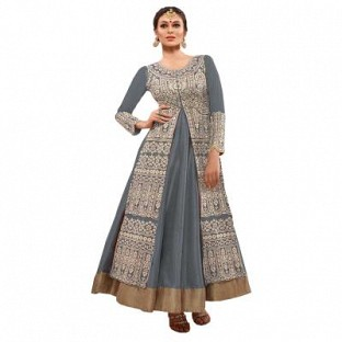 Beautiful Grey Geaorgette Semi-Stitched Salwar Suit @ Rs1947.00
