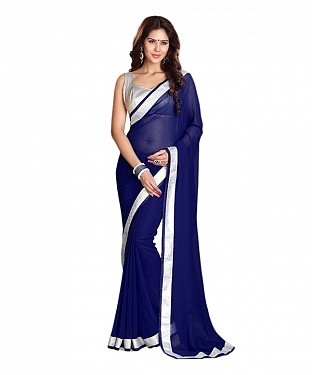 Beautiful Blue Lace Work Faux Georgette Saree @ Rs618.00