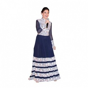 Beautiful Blue Georgette Semi-Stitched Salwar Suit @ Rs1762.00