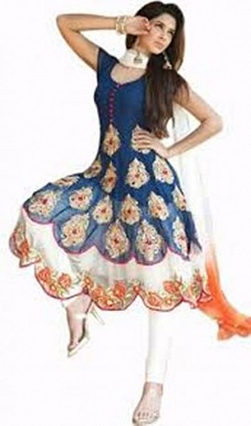 Beautiful Blue Soft Net Semi-Stitched Salwar Suit @ Rs742.00