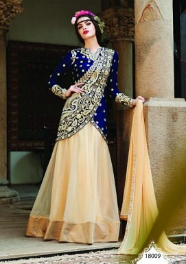 Beautiful Blue And Cream Soft Net Semi-Stitched Salwar Suit @ Rs2225.00