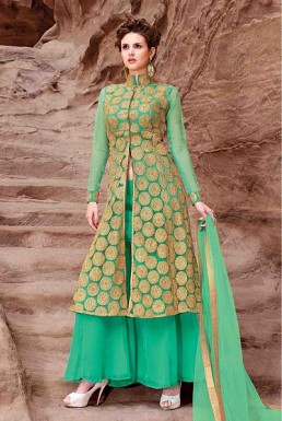 Beautiful Green Georgette Semi-Stitched Salwar suit @ Rs2040.00