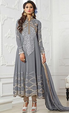Beautiful Grey Geaorgette Semi-Stitched Salwar Suit @ Rs2133.00