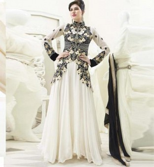 Beautiful White & Black Georgette Semi-stitched Salwar Suit@ Rs.2348.00