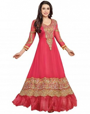Beautiful Pink Geaorgette Semi-Stitched Salwar Suit@ Rs.1298.00