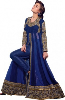 Beautiful Blue Georgette Semi-Stitched Salwar Suit@ Rs.2133.00
