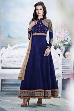 Beautiful Blue Georgette Semi-Stitched Salwar Suit@ Rs.1947.00