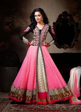 Beautiful Black And Pink Soft Net Semi-Stitched Salwar Suit@ Rs.989.00