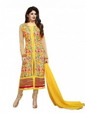 Gorgeous Yellow Georgette Anarkali Suit @ Rs866.00