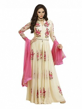 Gorgeous White Georgette Anarkali Suit @ Rs804.00