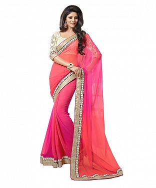 Beautiful Pink Lace Work Georgette Saree @ Rs581.00