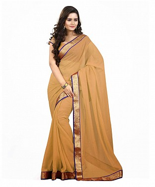 Beautiful Beige Lace Work Chiffon Saree @ Rs606.00