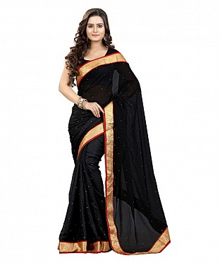 Beautiful Black Diamond Chiffon Saree @ Rs606.00