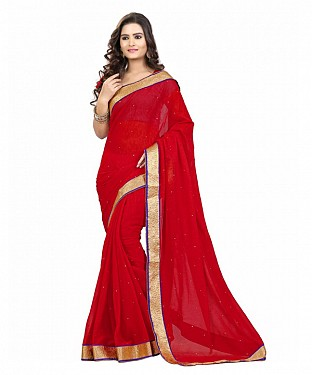 Beautiful Red Embroidery Georgette Saree @ Rs606.00