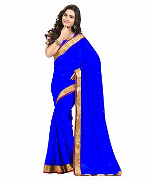 Beautiful Blue Diamond Chiffon Saree@ Rs.606.00