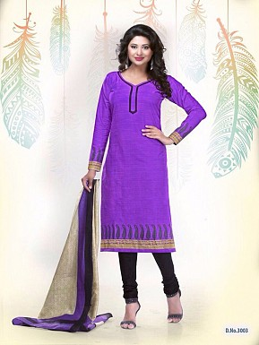 New Light Purple Cotton Printed Un-stitched Salwar Suits @ Rs1235.00