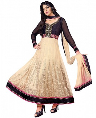 New Beautiful Fancy Cream and Black Anarkali suit @ Rs1422.00