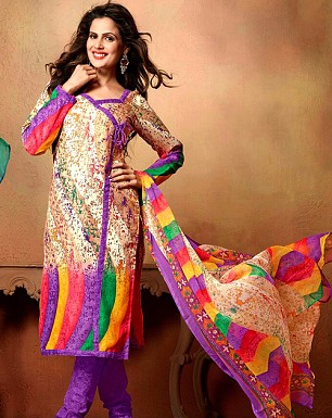 Designer Mix Cotton Salwar Suit Buy Rs.349.00