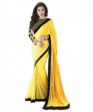 Beautiful Yellow Embroidery Georgette Saree @ Rs668.00