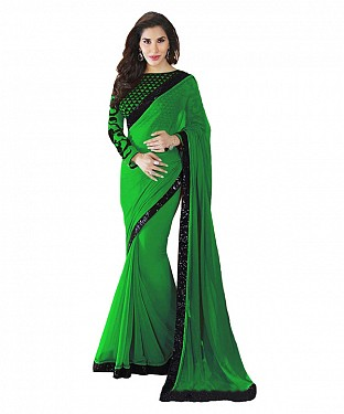 Beautiful Green Embroidery Georgette Saree @ Rs668.00