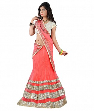 Omtex Fab Designer Pink Lehenga With Net Dupatta And Zari Blouse Piece @ Rs2162.00