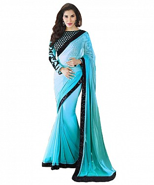 Beautiful Blue Embroidery Georgette Saree @ Rs668.00