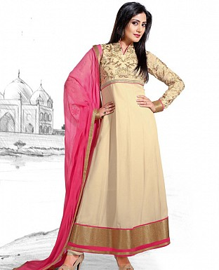 New Beautiful Fancy Cream Anarkali suit @ Rs1422.00