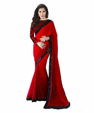 Beautiful Red Embroidery Georgette Saree @ Rs668.00