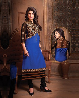 Embroidery Straight Cotton Suit With Dupatta @ Rs490.00