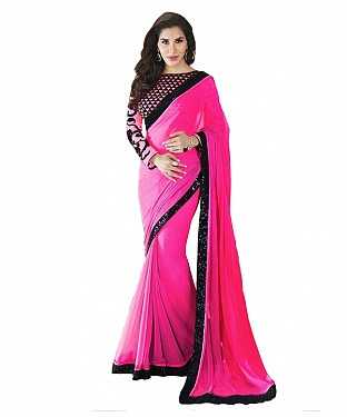 Beautiful Pink Embroidery Georgette Saree @ Rs668.00