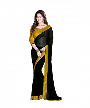 Beautiful Black Lace Work Faux Georgette Saree @ Rs557.00