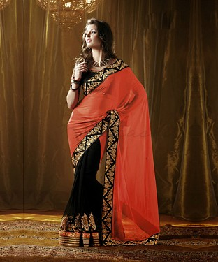 Beautiful Orange and blackEmbroidery Georgette Saree @ Rs864.00
