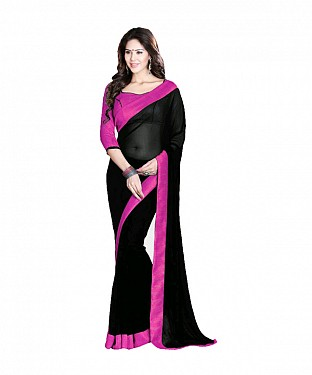 Beautiful Black Lace Work Georgette Saree @ Rs557.00