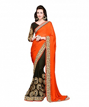 Beautiful Orange Embroidery Georgette Saree @ Rs1026.00