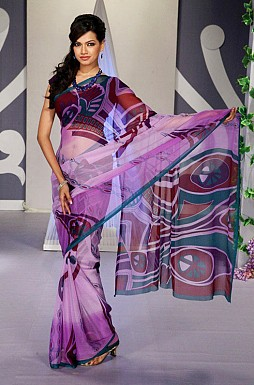 Purple base Chiffon Printed Saree With Blouse@ Rs.617.00