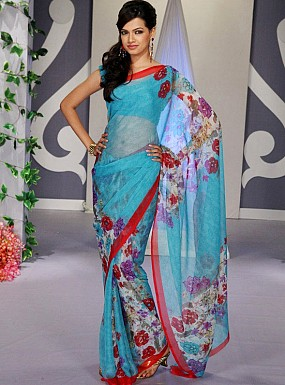 Blue Floral Print Chiffon Saree with Blouse@ Rs.617.00