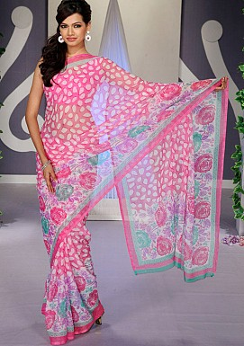 Pink Chiffon Floral Print Saree with Blouse @ Rs617.00