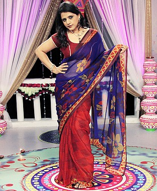 Chiffon Concept Print Saree with Blouse Buy Rs.720.00