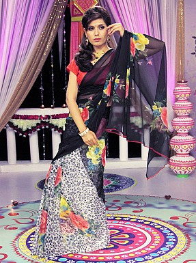 White & black Chiffon animal Print Saree With Blouse Buy Rs.720.00