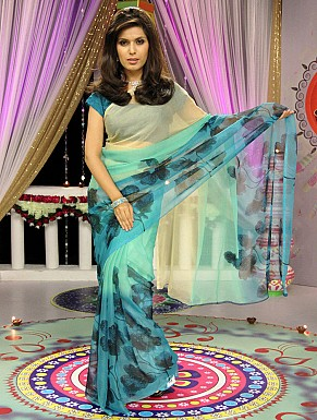 Chiffon Printed Saree with Blouse@ Rs.617.00