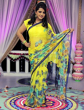 Yellow Chiffon Printed Saree With Blouse@ Rs.617.00