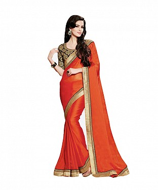 Beautiful Orange Lace Work Georgette Saree @ Rs730.00