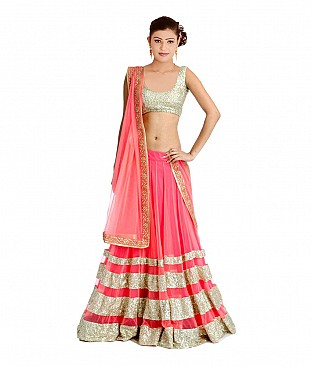 Omtex Fab Designer Pink Lehenga With Net Dupatta And Zari Blouse Piece @ Rs2165.00