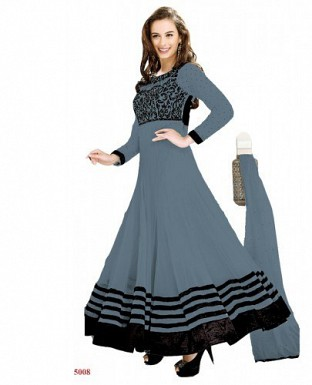 New Fancy Evelyn sharma Grey Embroidered anarkali suit @ Rs1020.00