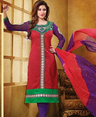 Embroidered  Designer Cotton Suit @ Rs350.00