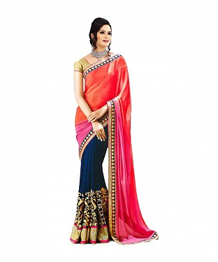 Beautiful Pink Embroidery Georgette Saree @ Rs741.00