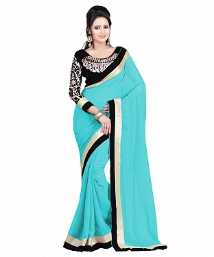 Beautiful Blue Lace Work Faux Georgette Saree @ Rs668.00