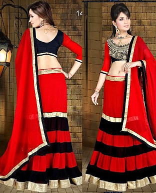 black and red lehenga @ Rs3338.00