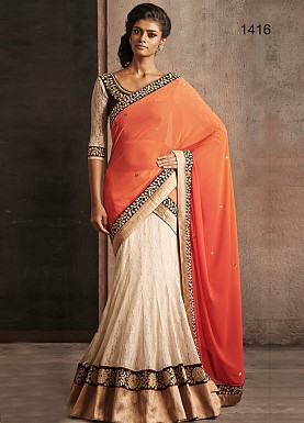 ORANGE PEDDING LEHENGA @ Rs3152.00
